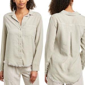 Bella Dahl Taupe 3/4 Sleeve Button Down Shirt